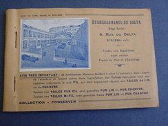 Carnet Publicitaire Des Ét.du DELTA Avec échantillons:toiles De Lin & Chanvre- Tissages Du Nord & Nord-Est. - Werbung