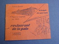 """Toulouse """"Restaurant De La Paix / Le Temple Des Gourmets,pl.du Capitole /Carnet  Avec Publicités & Menus -hiver 1933-34. - Menus"""