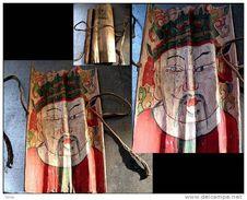 Vieux Masque De Cérémonie TSIEN TAO Signé De Prêtre Chamane Mien: TAI WAI  / Tsien Tao Old Taoist Paper Mask - Art Asiatique