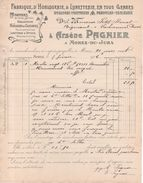 39 - Facture 1906 - Morez Du Jura  - Arsene Pagnier Fabrique D'horlogerie - Montres Horloges -  A VOIR - France