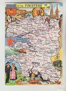 CPSM REPRESENTATION CARTE GEOGRAPHIQUE DEPARTEMENT FINISTERE - La Tour D'Auvergne, Faïence Quimper, Cidre, Crustacés, Cr - Maps