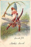 ¤¤  -  Illustrateur   -  Lutin à Cheval Sur Une Libéllule , Voyagée En 1904  -  Nain , Insecte   -  ¤¤ - Illustrateurs & Photographes