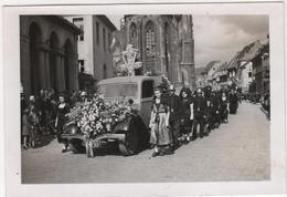 Photo Originale Militaria THANN 1945 Funérailles De René Ortlieb Et De L'Abbé Joseph Stamm Maquis Résistance Corbillard - War, Military