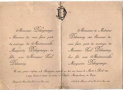 VP10.666 -1907 - Faire - Part De Mariage De Melle M. DELAGRANGE D'EPEIGNE LES BOIS & Mr P. DELAUNAY à NEUILLY LE BRIGNON - Mariage