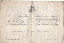 VP10.667 -1904 - Faire - Part De Mariage De Melle L. PEYROT à PARIS & Mr L.DELAGRANGE D'EPEIGNE LES BOIS - Mariage