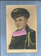 Photo Originale Aviateur Avec Fourragère Jaune Et Verte Alger-Photo Blida 2 Scans Format CPA - Guerre, Militaire