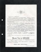 Ancien Faire-part De Décès-madame Paul De Kercadio Née Edith-marie-Joséphine-Adrienne De Coquereaumont - Avvisi Di Necrologio