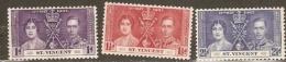 St Vincent 1937 SG 146-8 Coronation Mounted Mint - St.Vincent (...-1979)