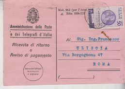 Storia Postale Poste E Telegrafi Ricevuta Ritorno Regno Bimillenario Oraziano  Gg - 1900-44 Vittorio Emanuele III