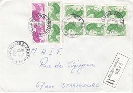 Env Reco Avec AR  Affr Y&T 2184 X 2 + 2318 X 8 Obl CROZON AN 1 Du 24.7.1984 Adressée à Strasbourg - Marcofilia (sobres)