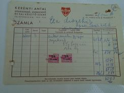 AD034.15  Hungary Old Invoice -Budapest - Kerényi Antal  -Scarf Tie Factory - 1948 -Tax Stamps  10000 P Overprint ANKER - Facturas & Documentos Mercantiles