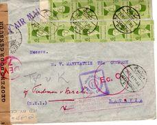 20 Mrt  41 Gecensureerde Luchtpostmet Bruine DIBOEKA ,wit Eg Censuur 5  En Rood Rond Ec.C. DEV 7 Vierkant Postal Censor - Indes Néerlandaises