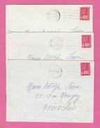 LOT DE 3 FLAMMES TOSHIBA 1er ET 3e TYPE DE CLERMONT FERRAND GARE - TIMBRES BEQUET - ANNEE 1975 - Marcophilie (Lettres)
