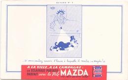 France Buvard  Pile Mazda Illustration De Dubout ( Pliure ) 21 Cm X 13,5 Cm - Accumulators