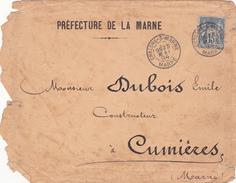 CHALONS/MARNE - Courrier Avec Oblit. Chalons/Marne Du 24 Mai 1894 Adressé à M. DUBOIS, Constructeur à CUMIERES (2 Scans) - Other Municipalities