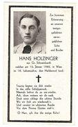 Sterbebild Hans Holzinger Aus Gr. Schweinbarth – 1945 Wien  ( 001182 ) - Militaria