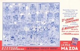 France Buvard  Pile Mazda Illustrations Dubout ( Pliure ) 20,5 Cm X 13,5 Cm - Accumulators