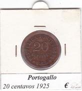 PORTOGALLO   20 CENTAVOS   ANNO 1925  COME DA FOTO - Portogallo