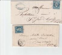 Vienne - Poitiers - GC2915 Sur N°22 - Lot De 2 Plis - Marcophilie (Lettres)
