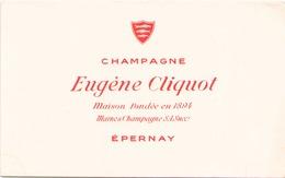 France Buvard Champagne Eugène Cliquot ( Pliure, Auréole ) 21 Cm X 13,5 Cm - Blotters