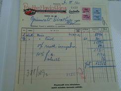 AD034.23  Hungary Old Invoice PASCHESZ I.  Tie Maker Cravates - TAX Stamps Grünwald Divathaz Budapest - Rechnungen