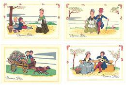 4 Cpa Bonne Fête, Couple, Musique, Attelage Chiens     (S.2188) - Tarjetas De Fantasía