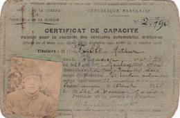 PERMIS DE CONDUIRE  :  CERTIFICAT DE CAPACITE  VALABLE  POUR LA  CONDUITE DES VEHICULES  AUTOMOBILES  MILITAIRES  1925 . - Autres