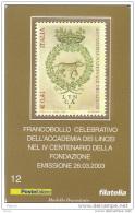 2003 - ITALIA (12)-  TESSERA FILATELICA  ACCADEMIA DEI LINCEI - 6. 1946-.. Republik