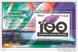 2005 - ITALIA - 17 TESSERA FILATELICA  CENTENARIO FERROVIE DELLA STATO - Cartes Philatéliques