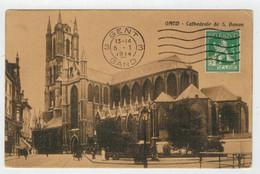 GENT-GAND  CATHEDRALE  DE  S.  BAVON  1914       2 SCAN   (VIAGGIATA) - Gent