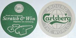 Sous-bock CARLSBERG Around The World Scratch & Win (casquette Lunettes Blouson) Bierdeckel Bierviltje Coaster (CX) - Sous-bocks