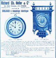 """PUB HORLOGE à REMONTAGE ELECTRIQUE """" RICHARD CH.HELLER & Cie  """"  1904 (2) - Bijoux & Horlogerie"""
