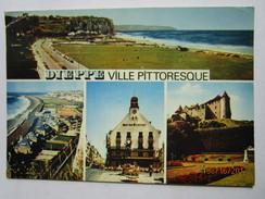 CP 76 DIEPPE Ville Pittoresque - Vue Générale De L'esplanade  - La Plage - La Plage Du Puits Salé Le Café Des Tribuneaux - Dieppe