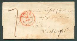 LAC De LIEGE Le  18 Mars 1847 Vers Lichterfeld (lichteverlde) Via Tourhout - 12091 - 1830-1849 (Unabhängiges Belgien)