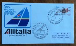 SPORT VELA  SFIDA ITALIANA AMERICA'S CUP 1983  AZZURRA ALITALIA SPONSOR UFFICIALE  BUSTA ED ANNULLO SPECIALE - Vela