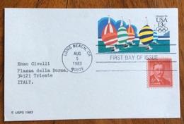 SPORT VELA  OLIMPIADI USA 1984 INTERO POSTALE 13 C. CON FIRMA AUTOGRAFA DI SHERWIN D.PODOLSKY LONG BEACH 5/8/1983 - Vela