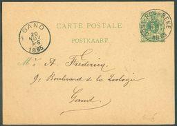 E.P. Carte 5 Centimes Vert Obl. Sc OOST-ROOSBEKE 20 Novembre 1885 Vers Gand - 12097 - Cartes Postales [1871-09]