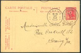 E.P. Carte 10 Centimes ROI CASQUE Obl. Sc EYSDEN (Ste BARBARA) Ste BARBE) 28-VIII-1920 Vers Seraing- 12100 Rare - Enteros Postales