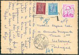 C.V. Affranchie à 3Fr. Baudouin Lunette Obl. Mécanique De LIEGE X  Vers Lisbonne + Taxation De 70cvos - 12105 - Brieven En Documenten