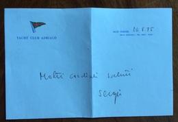 """SPORT  VELA LETTERA INTESTATA YACHT CLUB ADRIATICO DEL 16/8/75  """"molti Cordiali Saluti Sergio"""" - Pallavolo"""