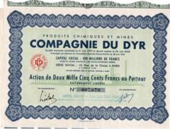ACTION 2000 FRS  PRODUITS CHIMIQUES ET MINES COMPAGNIE DU DYR - ANNEE 1950 - Mines