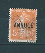 France   Type Seumeuse  N°158  5ct  Orange  (surchargé ANNULE  )   Oblitéré - Cours D'Instruction