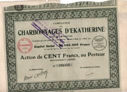ACTION DE 100 FRANCS - COMPAGNIE DES CHARBONNAGES D'EKATHERINE -  1927 - Mines