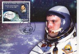 SPACE, COSMOS, DUMITRU PRUNARIU, FIRST ROMANIAN IN SPACE, CM, MAXICARD, CARTES MAXIMUM, OBLIT FDC, 2008, ROMANIA - Europe