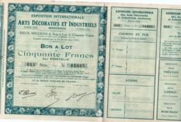 BON DE 50 FRANCS - EXPOSITION INTERNATIONALE DES ARTS DECORATIFS ET INDUSTRIELS - 1925 - Tourisme