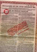 OBLIGATION  6.5 % DE L'ETAT HONGROIS  1924  TB - Aandelen