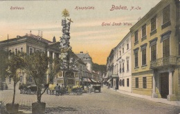 BADEN Bei Wien - Hauptplatz, Hotel Stadt Wien, Rathaus, Belebte Strassenszene, Gel. 1922?, Sehr Gute Erhaltung - Baden Bei Wien
