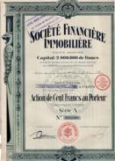 ACTION DE 100  FRANCS   - SOCIETE FINANCIERE IMMOBILIERE  1925 - Actions & Titres