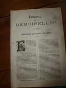 1883 JOURNAL DES DEMOISELLES  :Mémoires Du Comte De Ségur; L'arbre De BOSCOBEL ;Correspondance; Revue Musicale ;etc - Vieux Papiers