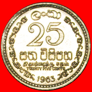 § BRITISH COMMONWEALTH: CEYLON ★ 25 CENTS 1963 MINT LUSTER! LOW START★ NO RESERVE! - Sri Lanka